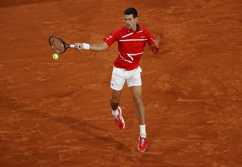 Novak Djokovic during the 2020 French Open final