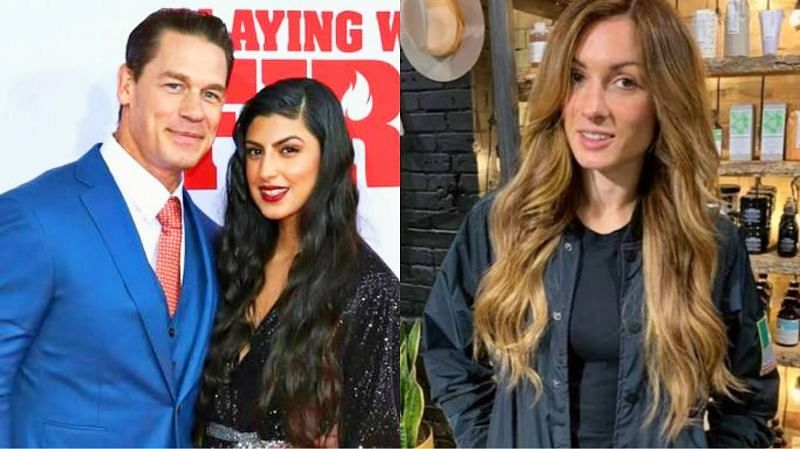 John Cena and his wife, Shay Shariatzadeh (left) and Becky Lynch (right)