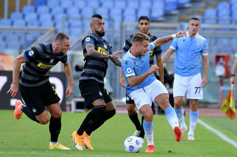 SS Lazio held Inter Milan to a draw at the Stadio Olimpico despite playing with 10 men for the final 20 minutes.