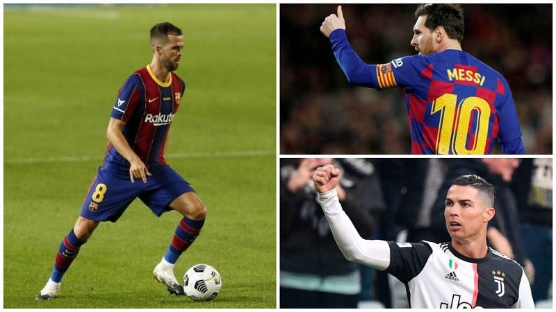 Miralem Pjanic (left), Lionel Messi (top right) and Cristiano Ronaldo (bottom right) have scored a lot of free-kick goals.
