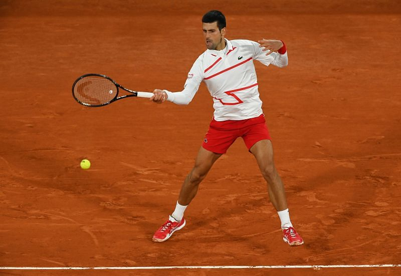 Novak Djokovic hits a shot from the baseline during the 2020 French Open