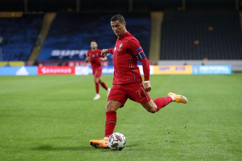 Cristiano Ronaldo playing for Portugal.