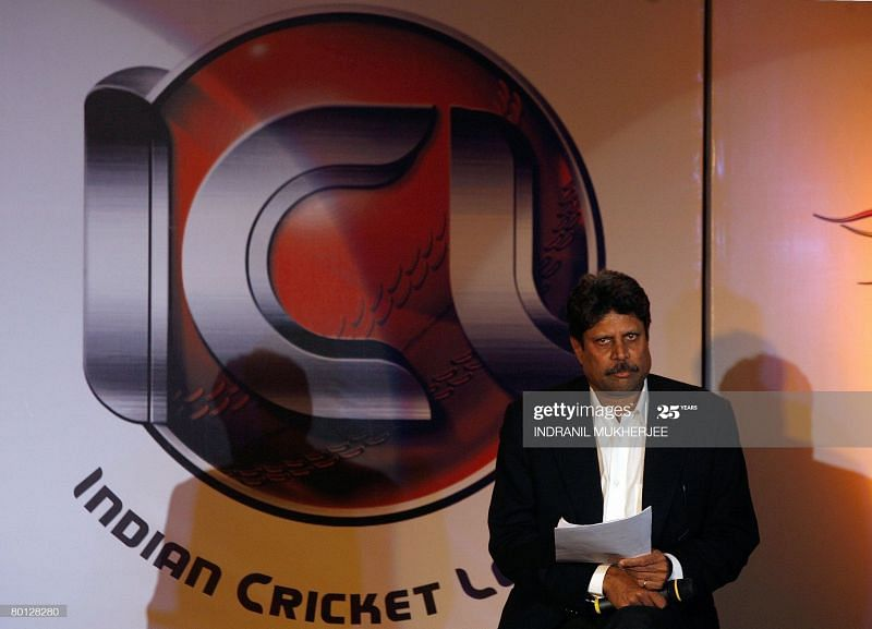 Then ICL Chairman Kapil Dev addressing a press conference in Mumbai on March 5, 2008 Image courtesy: INDRANIL MUKHERJEE/AFP via Getty Images