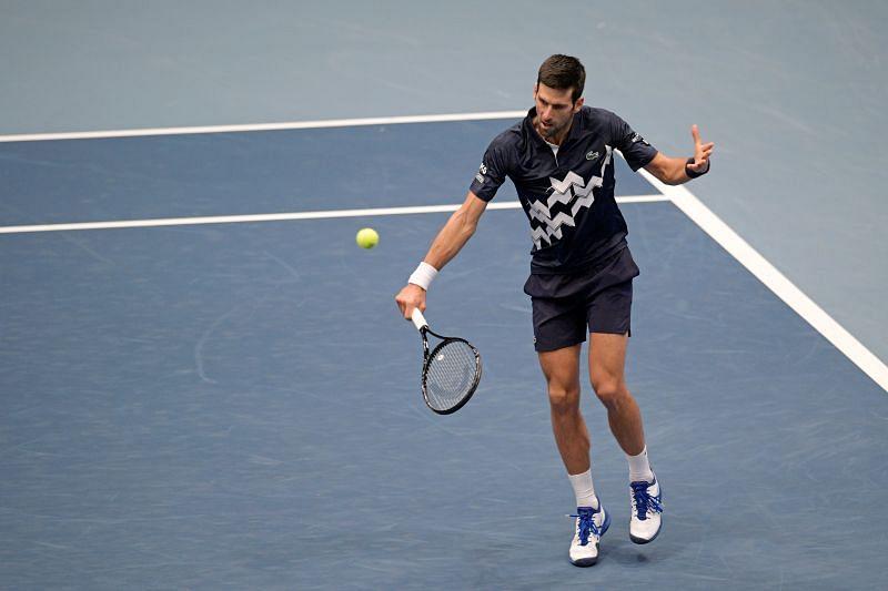 Novak Djokovic in action at the 2020 Erste Bank Open