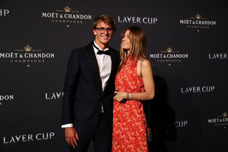 Alexander Zverev with Olga Sharypova at Laver Cup 2019