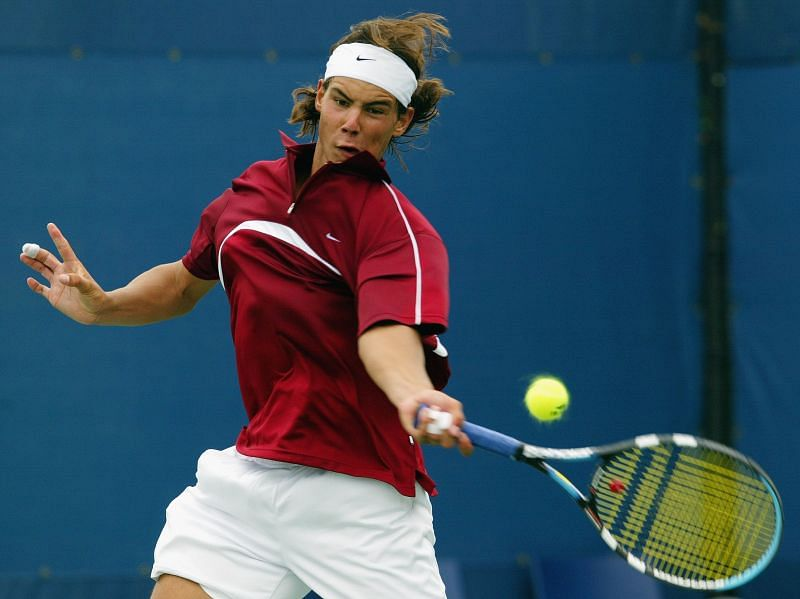 Rafael Nadal playing his first US Open in 2003
