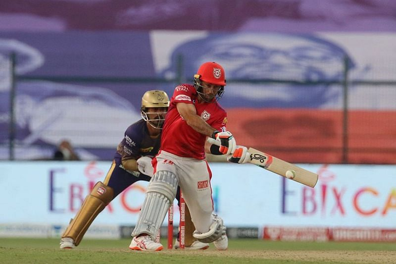 Glenn Maxwell playing a reverse-sweep against KKR on Saturday (Credits: IPLT20.com)