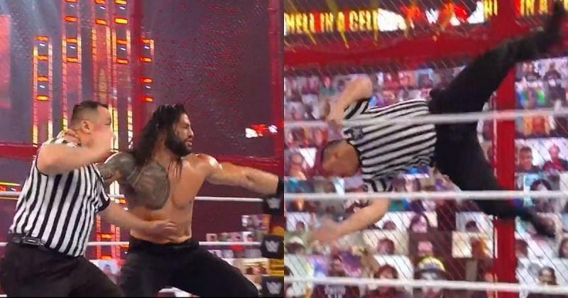 Roman Reigns sent WWE referee Brian Nguyen flying outside the ring.