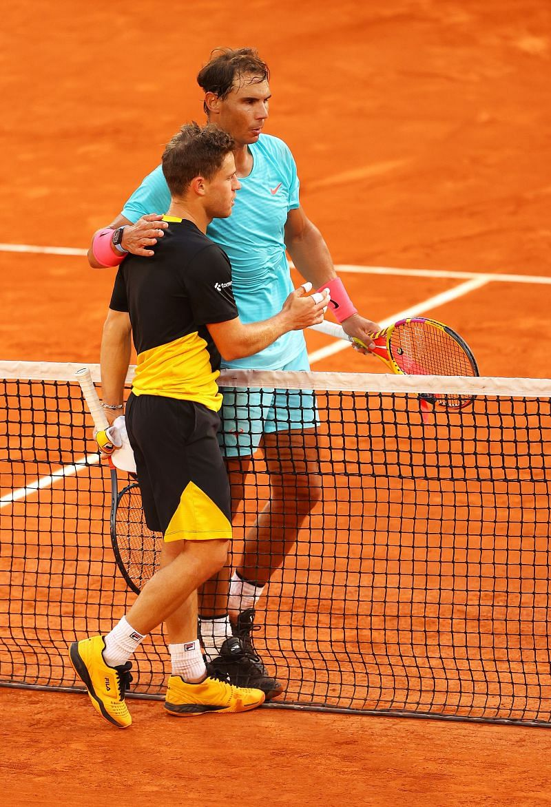 Rafael Nadal and Diego Schwartzman at the 2020 French Open