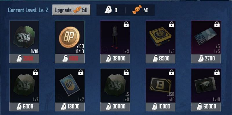 The various rewards from this PUBG Mobile event
