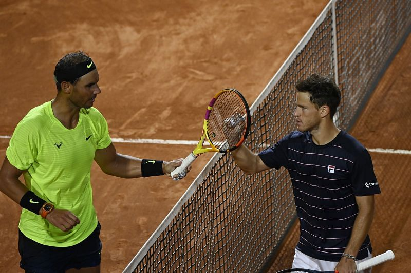 Rafael Nadal and Diego Schwartzman after their quarter-final match at the Italian Open in Rome