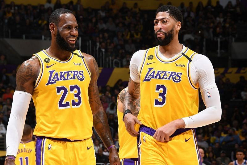 LeBron James (#23) and Anthony Davis (#3) while playing for the Los Angeles Lakers