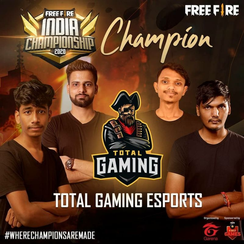 Total Gaming are winners of the Free Fire India Championship 2020 Fall