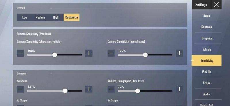 Sensitivity settings in PUBG Mobile Lite