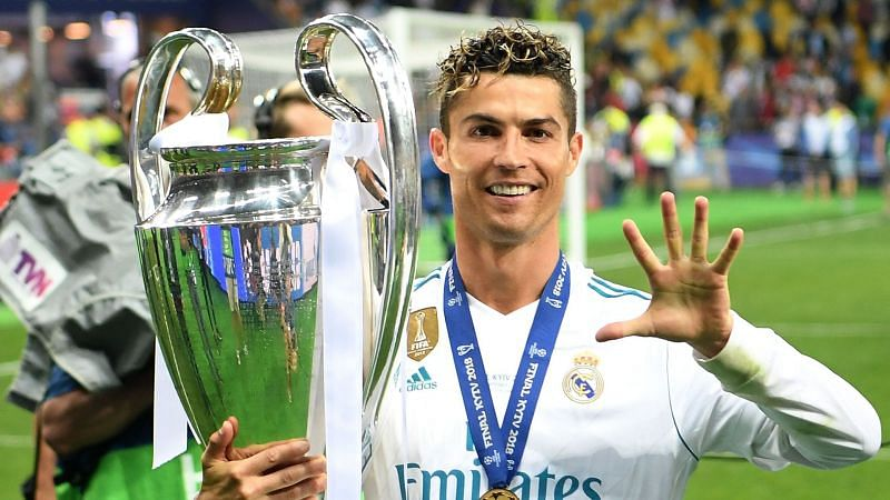 Cristiano Ronaldo gestures after winning his fifth Champions League title.