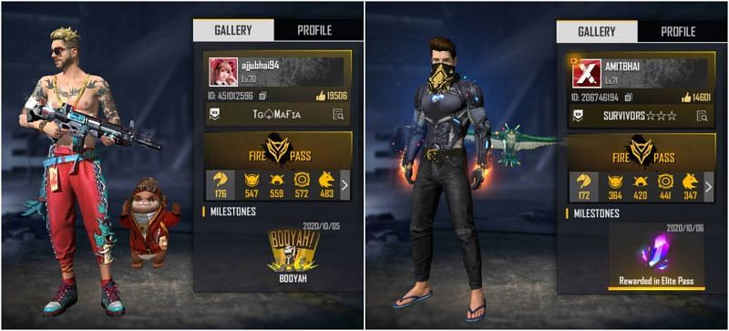 Who has better stats among Total Gaming and Amitbhai in Free Fire?