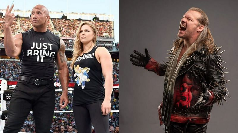The Rock, Ronda Rousey, and Chris Jericho
