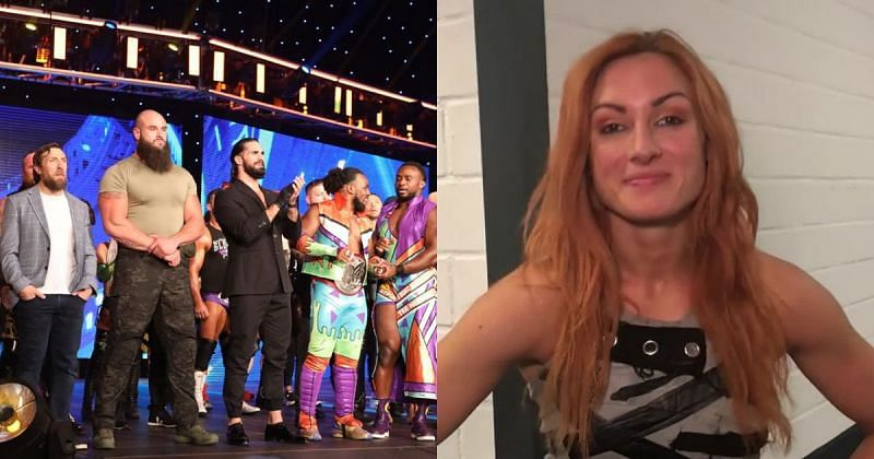 The SmackDown roster and Becky Lynch.