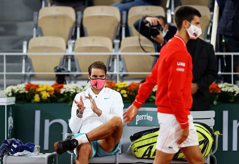 Novak Djokovic (R) and Rafael Nadal after the 2020 French Open final