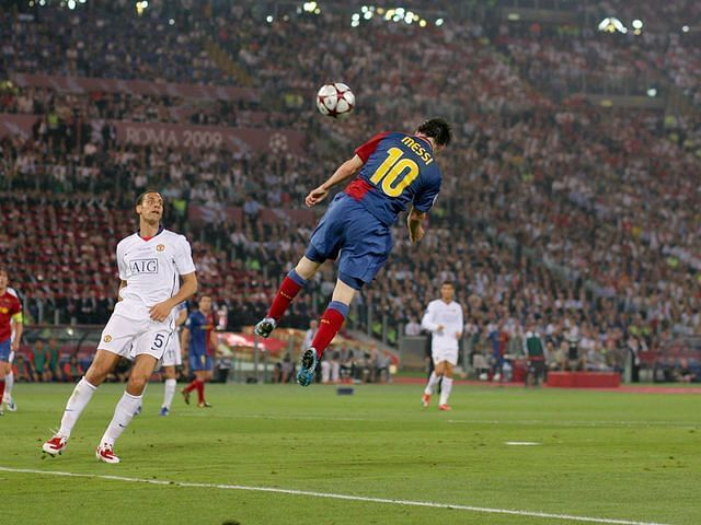 Lionel Messi scored a rare headed goal in the 2008-09 Champions League final.