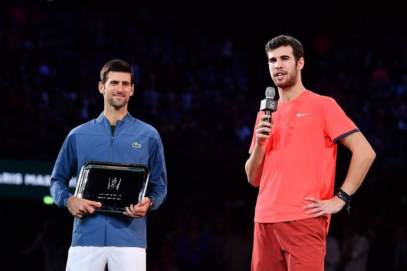 Novak Djokovic(L) and Karen Khachanov at the 2018 Paris Masters