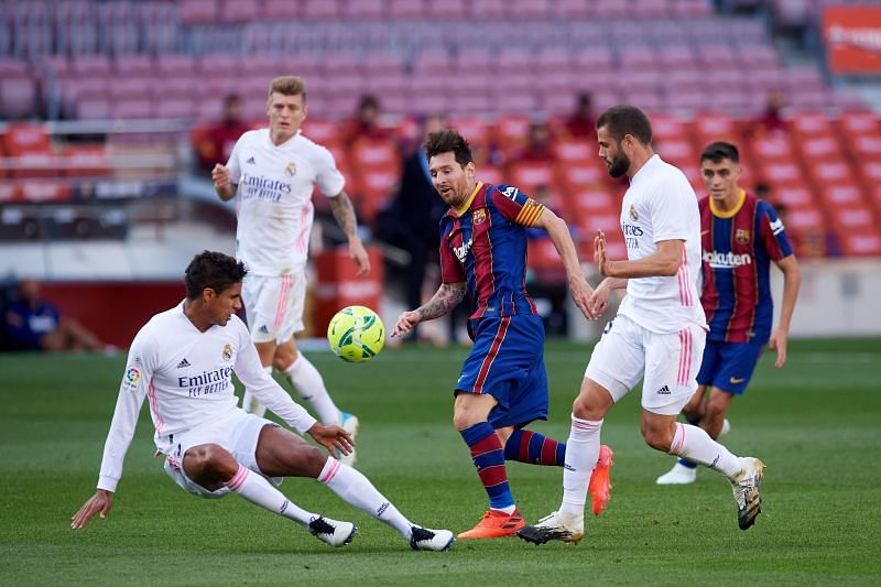 Lionel Messi in action against Real Madrid at the weekend