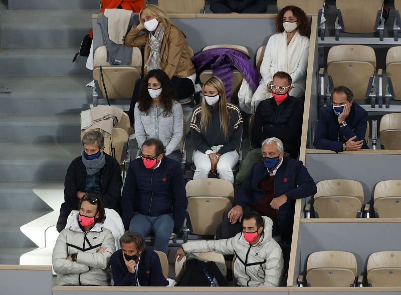 The player box of Rafael Nadal dring his final against Novak Djokovic at the 2020 French Open