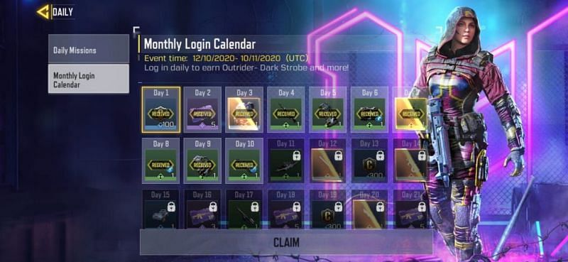 Monthly Login Calendar page