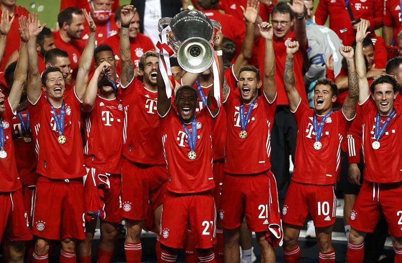 David Alaba lifts the 2019-20 Champions League trophy for Bayern Munich.