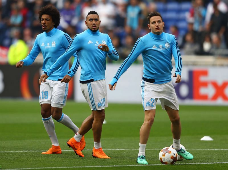 Olympique de Marseille attacking duo Dmitri Payet (M) and Florian Thauvin (R)