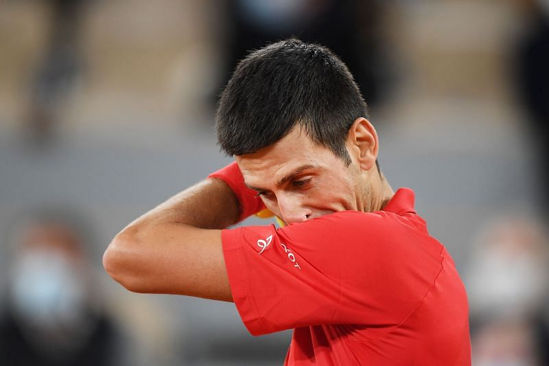 Novak Djokovic during the French Open final against Rafael Nadal