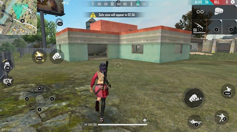 L-shaped house in Free Fire
