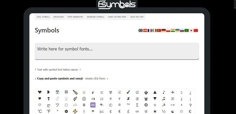 أحد هذه المواقع - fsymbols.com