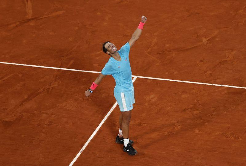 Rafael Nadal celebrating his win over Novak Djokovic