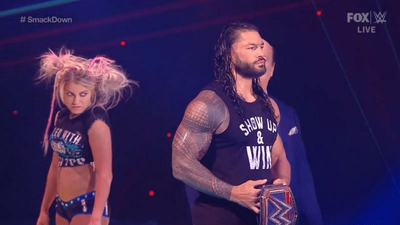 Alexa Bliss and Roman Reigns on WWE SmackDown