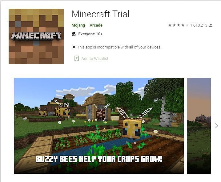 Minecraft Trial on the Google Play Store