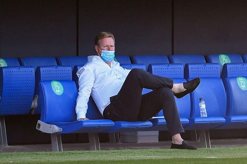 FC Barcelona manager Ronald Koeman looks on