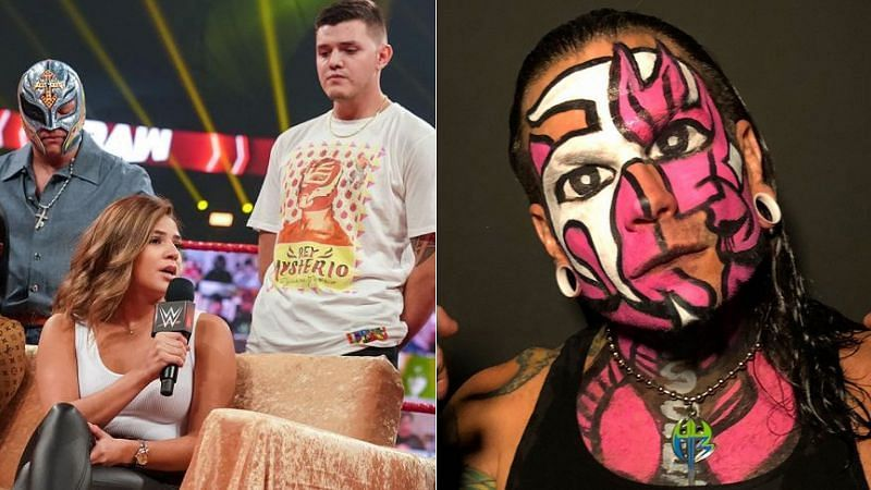 The Mysterio family (left); Jeff Hardy (right)
