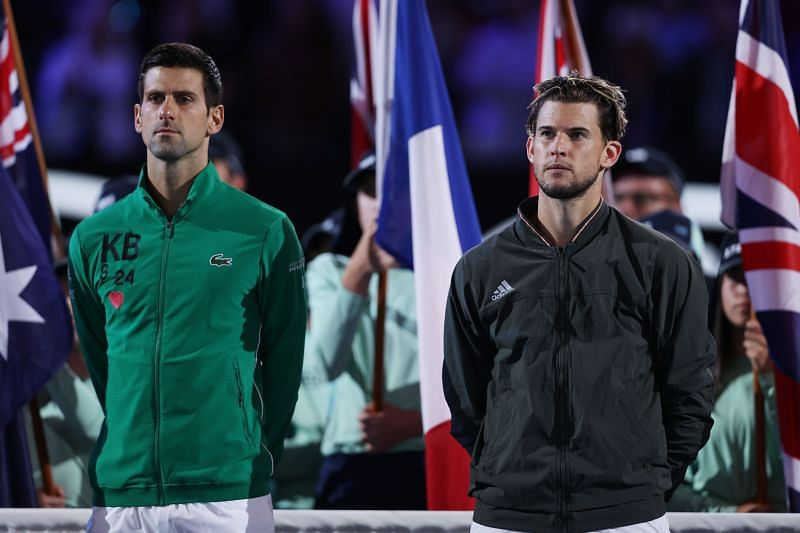Novak Djokovic (L) and Dominic Thiem at the 2020 Australian Open
