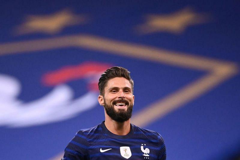 Olivier Giroud rejoices after scoring a goal for France