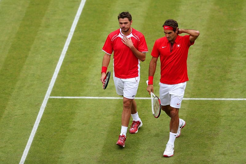 Roger Federer and Stan Wawrinka at the London 2012 Olympic Games