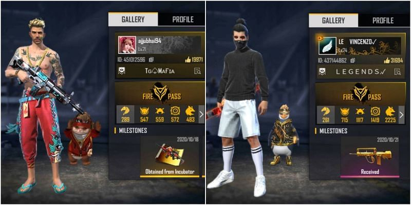 Who has better stats between Total Gaming and Vincenzo in Free Fire?