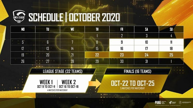 EMEA League schedule