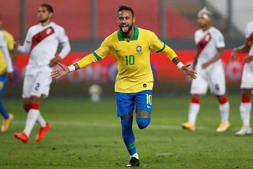 Neymar struck thrice to lift Brazil over Peru in an entertaining contest