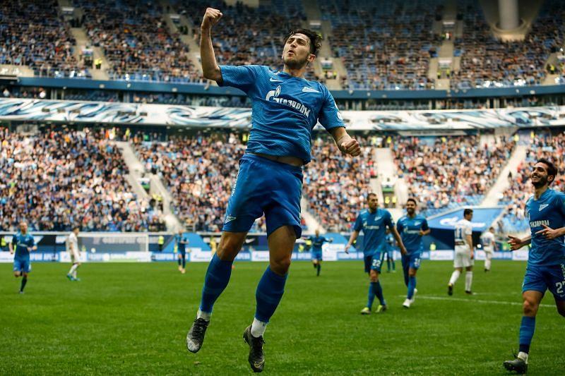 Sardar Azmoun of FC Zenit Saint Petersburg celebrates his goal