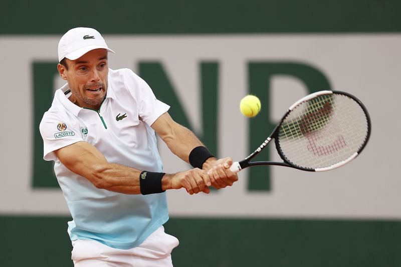 Roberto Bautista Agut during his second round match against Attila Balazs at the French Open