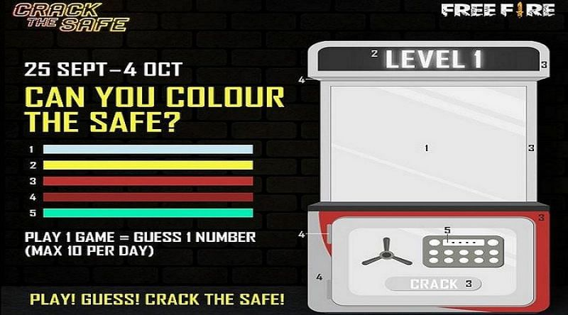 Free Fire Crack the safe code: How to unlock all the safes (Image Credits: Free Fire / Instagram)