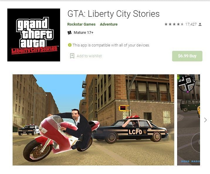 GTA Liberty City Stories on the Google Play Store (Image Credits: Google Play Store)