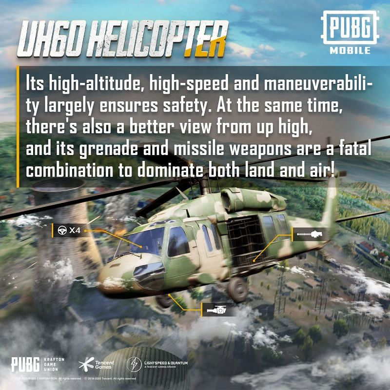 The UH60 can be occupied by four players (Image Credits: PUBG Mobile / Twitter)