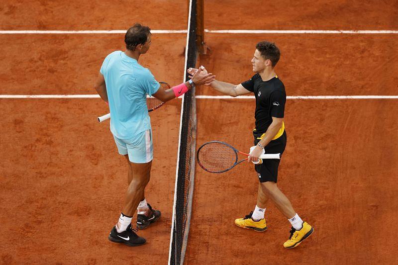 Rafael Nadal (L) and Diego Schwartzman